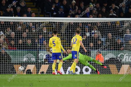 Ricardo Pereira of Leicester City shot goes past Goal Keeper Lee Camp of Birmingham City to make it 1-0.