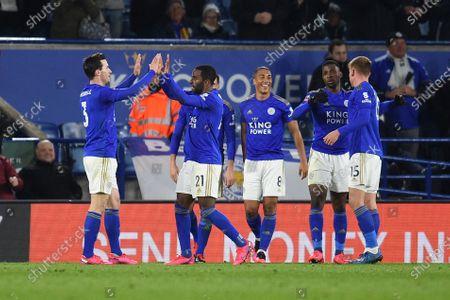 Ricardo Pereira of Leicester City celebrates his goal.
