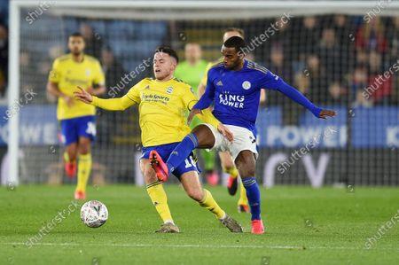 Kerim Mrabti of Birmingham City is challenged by Ricardo Pereira of Leicester City.