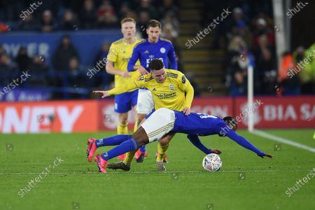 Kerim Mrabti of Birmingham City challenges Ricardo Pereira of Leicester City.