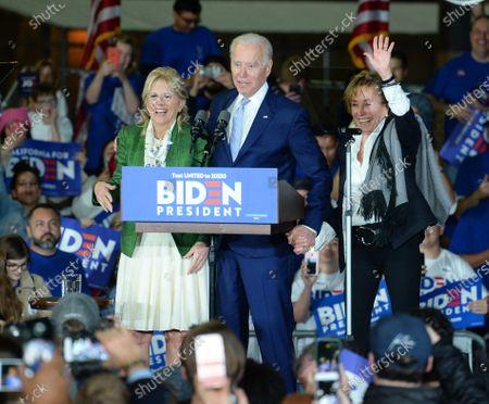 Joe Biden, wife Jill Biden and sister Valerie Biden at a Super Tuesday Presidential Campaign Rally