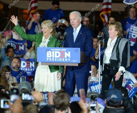 Stock Photo of Joe Biden, wife Jill Biden and sister Valerie Biden at a Super Tuesday Presidential Campaign Rally