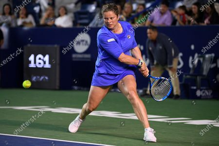Kim Clijsters (Belgium) pictured in action against Johanna Konta (GB) in the women's singles first round