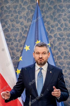 Slovak Prime Minister Peter Pellegrini attends a press conference during the Visegrad Group (V4) summit in Prague, Czech Republic, 04 March 2020. The extraordinary summit will focus on the ongoing novel coronavirus outbreak in Europe.