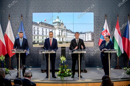 (L-R) Slovak Prime Minister Peter Pellegrini, Polish Prime Minister Mateusz Morawiecki, Czech Prime Minister Andrej Babis and Hungarian Prime Minister Viktor Orban attend a press conference during the Visegrad Group (V4) summit in Prague, Czech Republic, 04 March 2020. The extraordinary summit will focus on the ongoing novel coronavirus outbreak in Europe.