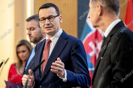 (L-R) Slovak Prime Minister Peter Pellegrini, Polish Prime Minister Mateusz Morawiecki and Czech Prime Minister Andrej Babis attend a press conference during the Visegrad Group (V4) summit in Prague, Czech Republic, 04 March 2020. The extraordinary summit will focus on the ongoing novel coronavirus outbreak in Europe.
