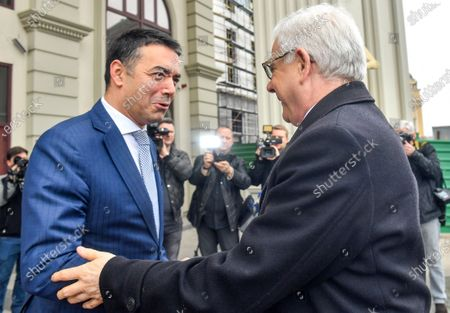 Macedonian Foreign Minister Nikola Dimitrov (L) welcomes his Polish counterpart, Jacek Czaputowicz (R), in Skopje, Republic of North Macedonia, 04 March 2020. The top diplomats of Poland, Latvia, Lithuania and Estonia (four Baltic nations that are part of the so-called 'Friends of Enlargement Group') are on a two-day visit to the North Macedonian capital to discuss issues such as the West Balkan country's possible accession to the EU, which until now had been vetoed by Greece due to the latter's long-running naming dispute with its northern neighbor.