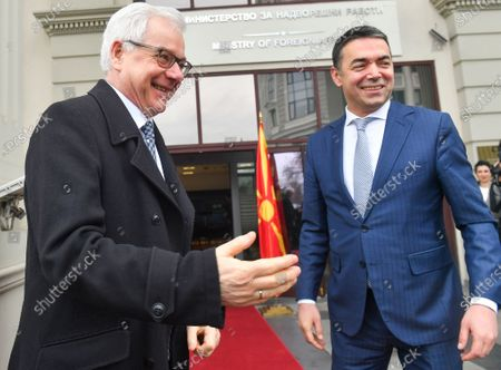 Macedonian Foreign Minister Nikola Dimitrov (R) welcomes his Polish counterpart, Jacek Czaputowicz (L), in Skopje, Republic of North Macedonia, 04 March 2020. The top diplomats of Poland, Latvia, Lithuania and Estonia (four Baltic nations that are part of the so-called 'Friends of Enlargement Group') are on a two-day visit to the North Macedonian capital to discuss issues such as the West Balkan country's possible accession to the EU, which until now had been vetoed by Greece due to the latter's long-running naming dispute with its northern neighbor.