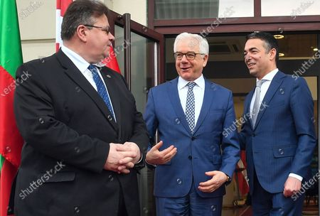 (L-R) Lithuanian Foreign Affairs Minister Linas Linkevicius, Polish FM Jacek Czaputowicz and Macedonian FM Nikola Dimitrov chat following a joint press conference in Skopje, Republic of North Macedonia, 04 March 2020. The top diplomats of Poland, Latvia, Lithuania and Estonia (four Baltic nations that are part of the so-called 'Friends of Enlargement Group') are on a two-day visit to the North Macedonian capital to discuss issues such as the West Balkan country's possible accession to the EU, which until now had been vetoed by Greece due to the latter's long-running naming dispute with its northern neighbor.