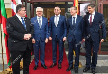 (L-R) Lithuanian Foreign Affairs Minister Linas Linkevicius, Polish FM Jacek Czaputowicz, Macedonian FM Nikola Dimitrov, Latvian FM Edgars Rinkevics and Estonian Undersecretary for European Affairs Mart Volmer chat following a joint press conference in Skopje, Republic of North Macedonia, 04 March 2020. The top diplomats of Poland, Latvia, Lithuania and Estonia (four Baltic nations that are part of the so-called 'Friends of Enlargement Group') are on a two-day visit to the North Macedonian capital to discuss issues such as the West Balkan country's possible accession to the EU, which until now had been vetoed by Greece due to the latter's long-running naming dispute with its northern neighbor.