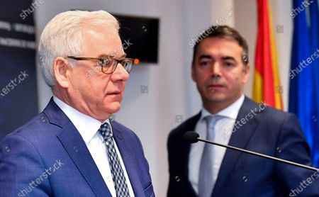 Polish Foreign Affairs Minister Jacek Czaputowicz (L) speaks next to his Macedonian counterpart Nikola Dimitrov (R) during a joint press conference in Skopje, Republic of North Macedonia, 04 March 2020. The top diplomats of Poland, Latvia, Lithuania and Estonia (four Baltic nations that are part of the so-called 'Friends of Enlargement Group') are on a two-day visit to the North Macedonian capital to discuss issues such as the West Balkan country's possible accession to the EU, which until now had been vetoed by Greece due to the latter's long-running naming dispute with its northern neighbor.