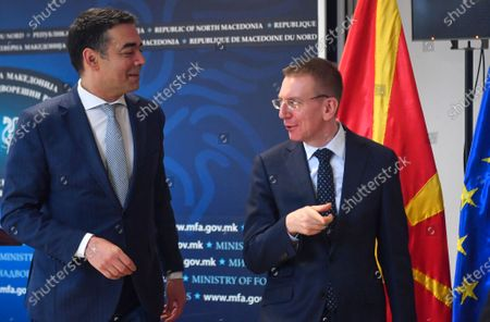 Macedonian Foreign Affairs Minister Nikola Dimitrov (L) and his Latvian counterpart, Edgars Rinkevics (R), leave a joint press conference in Skopje, Republic of North Macedonia, 04 March 2020. The top diplomats of Poland, Latvia, Lithuania and Estonia (four Baltic nations that are part of the so-called 'Friends of Enlargement Group') are on a two-day visit to the North Macedonian capital to discuss issues such as the West Balkan country's possible accession to the EU, which until now had been vetoed by Greece due to the latter's long-running naming dispute with its northern neighbor.