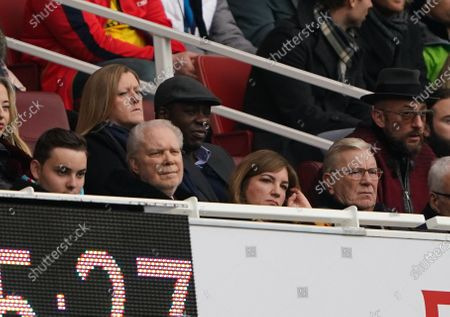 West Ham co-owner David Gold sits next to Vice Chairman Karren Brady