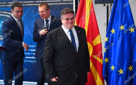 Lithuanian Foreign Minister Linas Linkevicius (R), Macedonian FM Nikola Dimitrov (L) and Latvian FM Edgars Rinkevics (C) leave the joint press conference in Skopje, Republic of North Macedonia, 04 March 2020. The top diplomats of Poland, Latvia, Lithuania and Estonia (four Baltic nations that are part of the so-called 'Friends of Enlargement Group') are on a two-day visit to the North Macedonian capital to discuss issues such as the West Balkan country's possible accession to the EU, which until now had been vetoed by Greece due to the latter's long-running naming dispute with its northern neighbor.