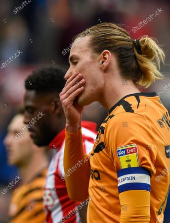 Jackson Irvine of Hull City looks dejected