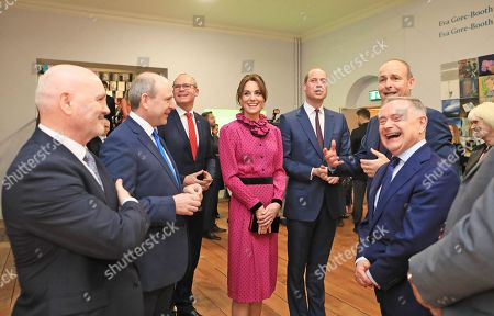 Tánaiste Simon Coveney, Catherine Duchess of Cambridge, Prince William, Fianna Fáil leader Micheál Martin and outgoing Labour Party leader Brendan Howlin attend an event at the Museum of Literature during the Royal visit