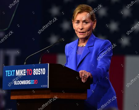 Judge Judy Sheindlin introduces Democratic presidential candidate former New York City Mayor Mike Bloomberg duroing his Super Tuesday night event at Palm Beach Convention Center