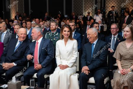 Their Majesties King Abdullah II, Queen Rania, King Harald V and Queen Sonja of Norway during a summit on future partnerships between Jordan and Norway in Amman