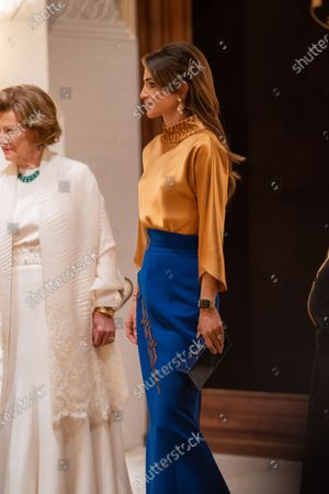 Their Majesties Queen Rania and Queen Sonja at the dinner banquet held in Amman