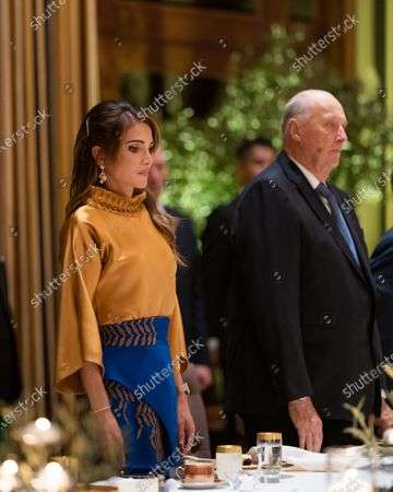 Queen Rania and King Harald at the dinner banquet in Amman