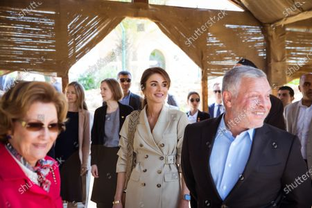 Their Majesties King Abdullah II, Queen Rania and Queen Sonja during a visit to the Baptism Site of Jesus Christ, Dead Sea, Jordan