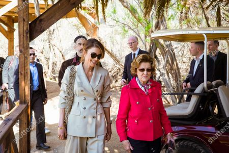 Their Majesties Queen Rania and Queen Sonja during a visit to the Baptism Site of Jesus Christ, Dead Sea, Jordan