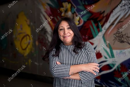 Stock Photo of The first Saudi film maker Haifaa Al-Mansour poses for the media during th presentation of her thrid movie 'The Perfect Candidate' during an act held in Madrid, Spain on 04 March 2020.