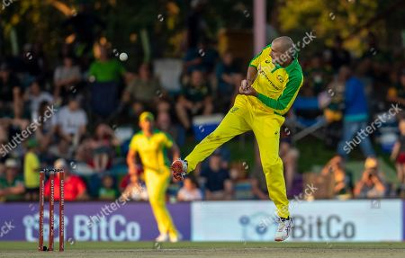 Australia's bowler Ashton Agar attempt a catch off his own bowling during the second One Day International cricket match between South Africa and Australia at Managing Oval in Bloemfontein, South Africa