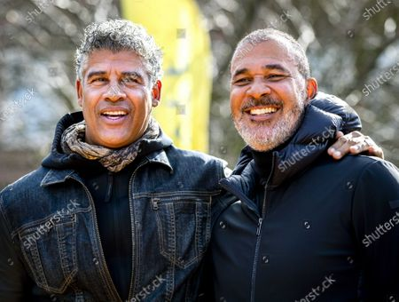 Former Dutch soccer players Frank Rijkaard (L) and Ruud Gullit open their own Cruyff Court soccer field in Amsterdam, The Netherlands, 04 March 2020.