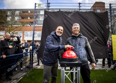 Former Dutch soccer players Frank Rijkaard (R) and Ruud Gullit open their own Cruyff Court soccer field in Amsterdam, The Netherlands, 04 March 2020.
