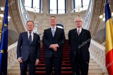 Stock Photo of Romanian President Klaus Iohannis (C), accompanied by Prince Nikolaus of Liechtenstein (R) and (EPP) President Donald Tusk (L), pose on the stairs of the Presidential Palace before to receive the 'European Society Coudenhove-Kalergi 2020' prize in Bucharest, Romania, 04 March 2020. The Coudenhove-Kalergi European Prize is awarded every two years to citizens of Europe for exceeding accomplishments in the European unification process and for promoting European values.