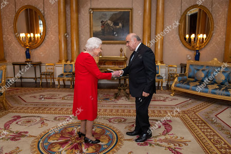 Queen Elizabeth II meets President of Malta George Vella during an audience at Buckingham Palace