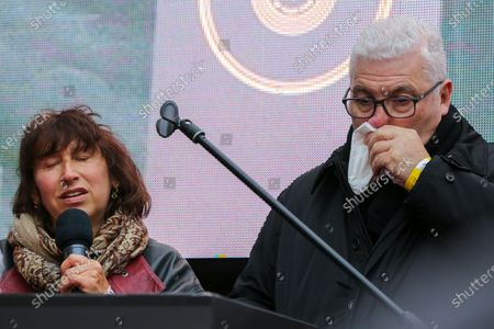 Janis Winehouse and Mitch Winehouse during the unveiling of Amy Winehouse Stone on Camden Music Walk of Fame outside Camden Town tube station.