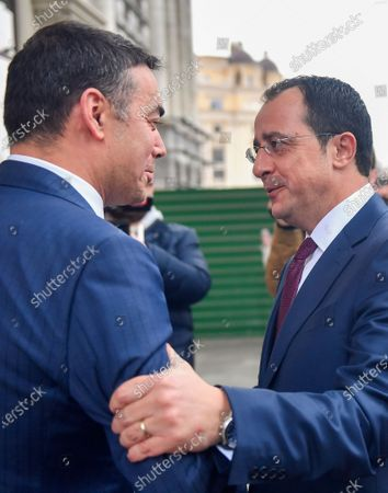 North Macedonia's Foreign Minister Nikola Dimitrov (L) welcomes his Cypriot counterpart Nikos Christodoulides (R) in Skopje, Republic of North Macedonia, 04 March 2020. Christodoulides arrived on one-day visit to North Macedonia.