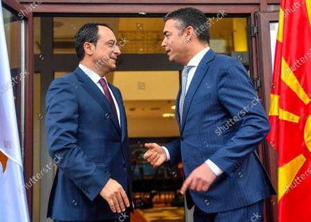 North Macedonia's Foreign Minister Nikola Dimitrov (R) welcomes his Cypriot counterpart Nikos Christodoulides (L) in Skopje, Republic of North Macedonia, 04 March 2020. Christodoulides arrived on one-day visit to North Macedonia.