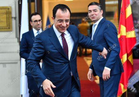 Cypriot Foreign Minister Nikos Christodoulides (L) waves to his North Macedonia's counterpart Nikola Dimitrov (R) after the press conference in Skopje, Republic of North Macedonia, 04 March 2020. Christodoulides arrived on one-day visit to North Macedonia.