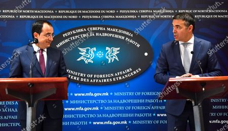 North Macedonia's Foreign Minister Nikola Dimitrov (R) and his Cypriot counterpart Nikos Christodoulides (L) attend the joint press conference in Skopje, Republic of North Macedonia, 04 March 2020. Christodoulides arrived on one-day visit to North Macedonia.