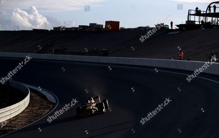 Stock Photo of F1 driver Max Verstappen of The Netherlands drives his car through the Arie Luyendyk corner, one of the two banked corners, during a test and official presentation of the renovated F1 track in the beachside resort of Zandvoort, western Netherlands