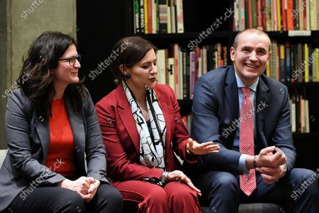 Stock Image of Icelandic President Gudni Thorlacius Johannesson (R), his wife Eliza Jean Reid (C) and Mayor of Gdansk Aleksandra Dulkiewicz (L), during a visit to the European Solidarity Center in Gdansk, Poland, 04 March 2020. President of Iceland Gudni Thorlacius Johannesson continues his three-day official visit to Poland.