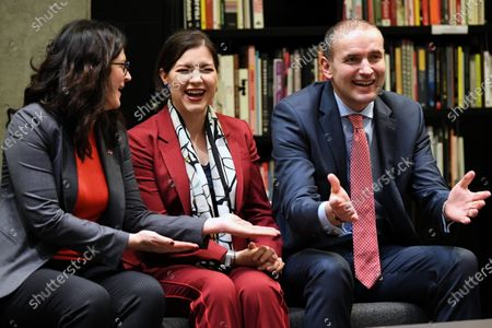 Stock Photo of Icelandic President Gudni Thorlacius Johannesson (R), his wife Eliza Jean Reid (C) and Mayor of Gdansk Aleksandra Dulkiewicz (L), during a visit to the European Solidarity Center in Gdansk, Poland, 04 March 2020. President of Iceland Gudni Thorlacius Johannesson continues his three-day official visit to Poland.