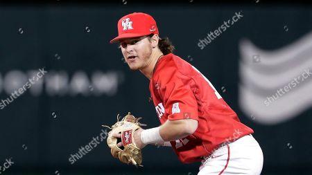 Houston infielder Ian McMillan during an NCAA baseball game, in Houston, Texas