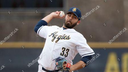 North Carolina A&T's Michael Johnson (33) pitches during an NCAA baseball game, in Greensboro, N.C