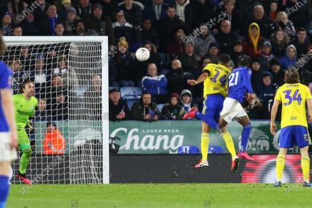 Leicester City defender Ricardo Pereira scores a goal to make it 1-0 and celebrates during the The FA Cup match between Leicester City and Birmingham City at the King Power Stadium, Leicester