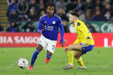 Leicester City defender Ricardo Pereira takes on Birmingham City midfielder Kerim Mrabti during the The FA Cup match between Leicester City and Birmingham City at the King Power Stadium, Leicester