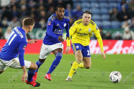 Leicester City defender Ricardo Pereira and Birmingham City midfielder Kerim Mrabti chase the ball during the The FA Cup match between Leicester City and Birmingham City at the King Power Stadium, Leicester