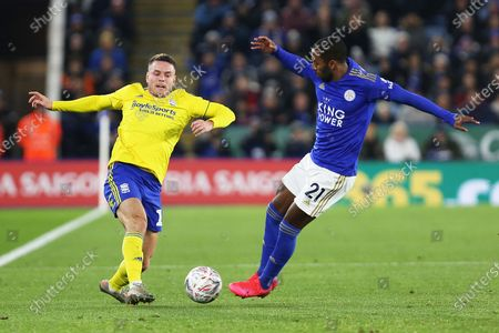 Leicester City defender Ricardo Pereira and Birmingham City midfielder Kerim Mrabti compete for the ball during the The FA Cup match between Leicester City and Birmingham City at the King Power Stadium, Leicester