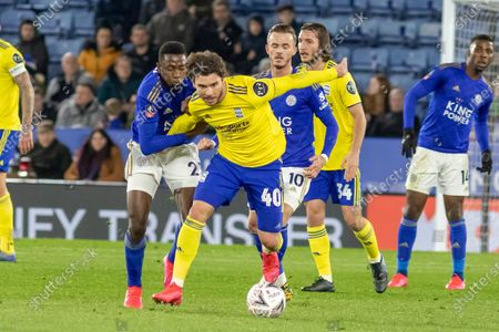 Scott Hogan (40 on loan from Aston Villa) brings the ball away from Ricardo Pereira (21) during the The FA Cup match between Leicester City and Birmingham City at the King Power Stadium, Leicester