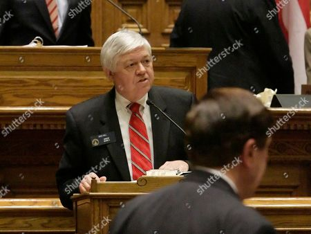 """Georgia Sen. Jack Hill, R-Reidsville, addresses fellow legislators about the state budget bill from the lower podium in the senate chamber during the last day of the legislative session in Atlanta. The Georgia Senate, passed its version of midyear budget cuts in a nearly unanimous vote, approving a plan to cut $159 million in state spending for the fiscal year that ends June 30. """"This is a budget with few real adds, frankly,"""" said Hill, chairman of the Senate Appropriations Committee"""