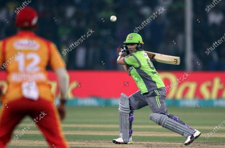 Salman Butt of Lahore Qalandars plays a shot during the Pakistan Super League (PSL) T20 series cricket match between Lahore Qalandars and Islamabad United in Lahore, Pakistan, 04 March 2020.