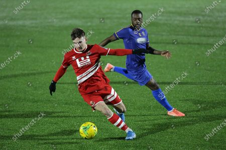 Stock Image of Callum Harrison of Sudbury and Daniel Waldren of Romford during Romford vs AFC Sudbury, BetVictor League North Division Football at Parkside on 4th March 2020